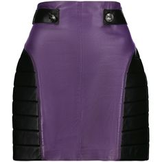 Pierre Balmain Two-tone ribbed leather mini skirt ($722) ❤ liked on Polyvore featuring skirts, mini skirts, purple, ribbed skirt, leather miniskirt, purple skirt, purple mini skirt and short skirts