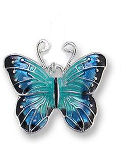 Zarah Zarlite Blue Morpho Butterfly CHARM Sterling Silver Plated & Enamel NEW #Zarah #Traditional