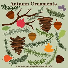 Autumn Ornaments Fall Graphics Fall Clip Art by CheriesArtsnCrafts, the colors of the autumn with natural 'ornaments' of leaves, pine cones and acorns.