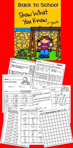 Use these printables for the first day or first week of school to find out what your first graders know! These are also great to use to keep your new firsties occupied while you take care of that beginning of the year list (unpacking new supplies, making that bus list/parent pick up list, wiping tears, and the list goes on). 