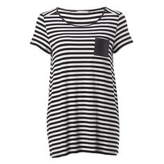 Maternity PU Pocket Tee Stripe ($22) ❤ liked on Polyvore featuring maternity