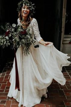 Buy Sleeve Lace Ivory Chiffon Wedding Dresses, Cheap Two Piece Beach Bridal Dresses on sale.Shop prom or formal dresses from Promdress.me. Find all of the latest styles and brands in Junior's prom and formal dresses at PromDress.me. Beach Bridal Dresses, Bridal Skirts, Western Wedding Dresses, Wedding Dress Chiffon, Princess Wedding Dresses, Cheap Wedding Dress, Boho Wedding Dress, Bridal Gowns, Wedding Gowns