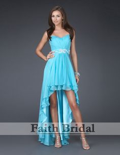 Empire Sweetheart Sleeveless Asymmetrical Chiffon Bridesmaid Evening Dresses Prom Dresses - In navy would be lush. Prom Dresses Under 200, High Low Prom Dresses, A Line Prom Dresses, Cheap Prom Dresses, Homecoming Dresses, Evening Dresses, Short Dresses, Bridesmaid Dresses, Formal Dresses