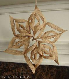 burlap 3d snowflakes, crafts, decoupage, seasonal holiday decor, Using burlap mod podge scissors and hot glue
