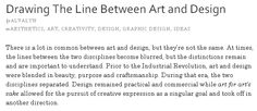 Drawing the line between Art and Design by Alvalyn Lundgren
