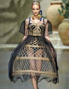 Dolce & Gabbana wicker and crinoline dress S/S 2013 collection