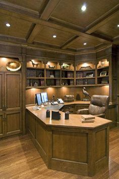traditional home office by Old World Kitchens & Custom Cabinets Law Office Design, Office Interior Design, Office Interiors, Design Desk, Library Design, Home Office Setup, Home Office Space, Office Ideas, Old World Kitchens