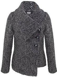 Asymmetric Fleece Jacket, Dark Grey