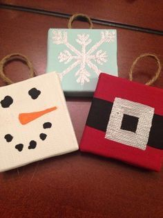 Things To Do With Mini Canvases! Great Handmade Gift For Christmas👍🏻👍🏻 is part of Kids Crafts Canvas People Things To Do With Mini Canvases! Great Handmade Gift For Christmas👍🏻👍 - Christmas Crafts For Kids, Diy Christmas Ornaments, Holiday Crafts, Holiday Fun, Christmas Holidays, Christmas Gifts, Christmas Decorations, Christmas Things, Christmas Ideas