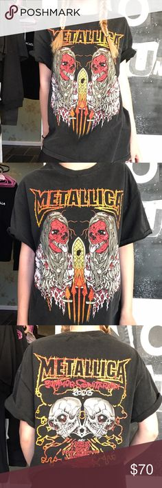 2003 Metallica Tour Tee rad!!! this tee isn't quite vintage, but it's pretty old and awesome. has NO TAG on the inside which is why it's priced the way it is! recommend for a S-L depending on desires fit. shirt is probably a L that has been pre-shrunk. model is 5'3, XS.   ❣ ABSOLUTELY NO PP OR TRADES ❣ Nasty Gal Tops Tees - Short Sleeve