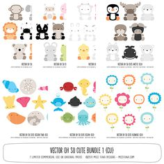 cute animal vector art. because animal artwork is always needed. and where else can you get a snake, a duck, a goat, a walrus, a seahorse, and a yak all in 1 set? ;)