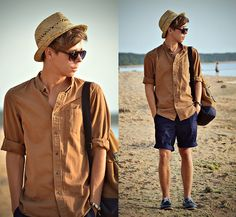 Primark Straw Trilby, Primark Brown Backpack, Primark Brown Shirt, H&M Navy Shorts, Primark Navy Boat Shoes, Primark Tortoiseshell Sunglasses