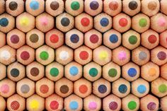 Colored Crayons In A Stack Showing Their Tops. Stock Photo ...