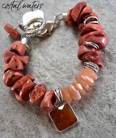 bracelet coral bracelet peach moonstone bracelet moonstone
