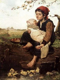 The Little Nurse-Agathe Rostel German Various Artists, Great Artists, William Adolphe Bouguereau, Beauty In Art, Old Paintings, Family First, Babywearing, Beautiful Paintings, Love Art