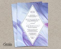 Watercolor Wedding Invitation | Abstract Modern Printable Watercolour Wedding Invitations In Purple Lavender And Blue | Hand Painted Invites by iDesignStationery on Etsy