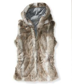 Hooded Faux Fur Vest from Aeropostale