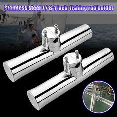 316 Stainless Steel Tube Fishing Rod Holder Boat Tackle Clamp On Rail Mount 316 Stainless Steel, Fish Camp, Fishing Rod, Clamp, Tube, Hunting, Rod Holders, Boat, Outdoor