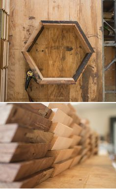 These shelves are made from reclaimed wood + wood glue. Woodworking Skills, Woodworking Plans, Wood Glue, Wood Wood, Ladder Shelf Diy, Hexagon Shelves, Diy Pins, Wood Working For Beginners, Simple Shapes