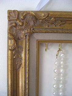 Necklace & Earring Hanging Display and Organizer Ornate Wood Frame Shabby Chic Gold Open Back Closet Dorm Organization Unique and ByTheBirds