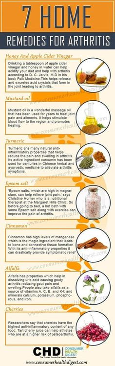 "What to take for arthritis pain ? What is good for arthritis pain ? 7 Home Remedies for Arthritis Infographic ""Are you tired of dealing with arthritis? If yes, then stop here to learn these 7 home remedies that help you to get relief from #Arthritis joint pain "" Honey and apple cider vinegar, mustard oil, turmeric, epsom salt, cinnamon, alfalfa, cherries Comment: "" I would add ginger to the list"""