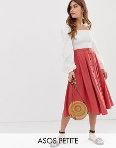 cbc2f0284a ASOS DESIGN Petite button front floaty midi skirt with pleats