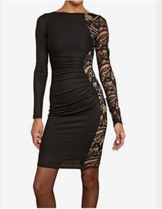 650323ea1b74 Black And Nude Lace Panel Night Out Dress