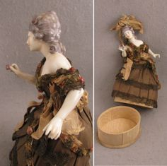 Early 1900s Dressel & Kister China Half Doll Candy Container - All from virtu-doll on Ruby Lane