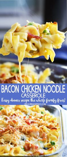 Easy family dinner ideas like Bacon Chicken Noodle Casserole are a fantastic way to have comfort food fast. Delicious chicken recipes like this are always a favorite in our house! Don't miss my tip for making this super quick. Easy Family Dinners, Fast Dinners, Easy Meals, Sunday Dinners, Family Meals, Family Family, Family Recipes, Weekly Dinners, Simple Meals