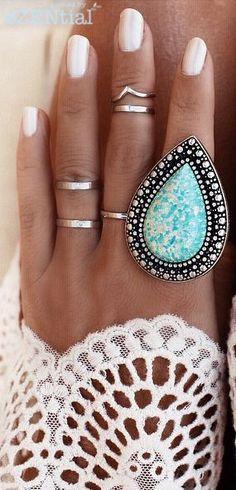 Fashion bohemian jewelry , rings- http://www.justtrendygirls.com/bohemian-fashion-jewelry/