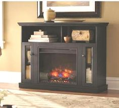 Electric Fireplace TV Stand Media Entertainment Center Flame Heater Wood Console