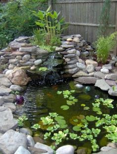 Cascade et  fontaine de jardin , 69 déco pour les moments de relaxe - verdure-autour-un-cascade-étang-petit