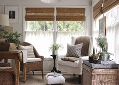 A sunroom is all we need in spring and summer, but especially in early spring because we are so tired of gloomy winter days! Design a sunroom or a space in farmhouse style and you'll feel the real warmth and… Continue Reading → Living Area, Living Spaces, Living Room, Sunroom Decorating, Sunroom Ideas, Sunroom Office, Estilo Country, Sweet Home, Cafe Curtains