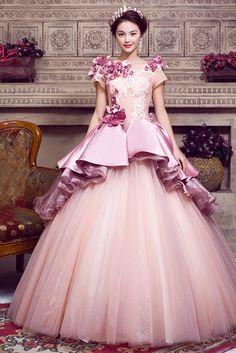 robe de bal à manches courtes col rond mauve satin à volants 3D Flower Lace-up couleur de robe de mariage Cfz0049
