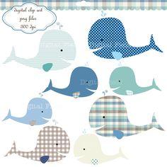 INSTANT DOWNLOAD Whale Clip Art Set - baby boy printable digital clipart. $3.25, via Etsy.