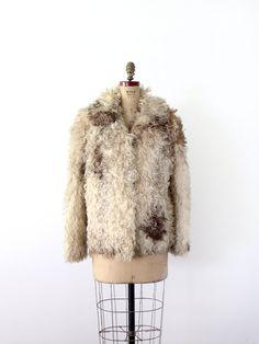 1960s Fur Coat / Vintage Mongolian Lamb Coat.