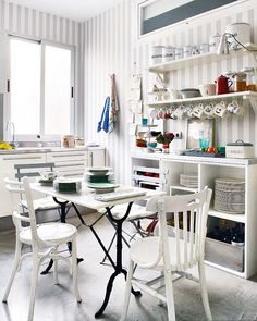 Love the table and chairs. Painting those cheapie cafe chairs from Ikea might have the same effect (grey ones).