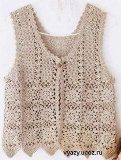 Crochet patterns: november Free crochet chart for this nice vest Gilet Crochet, Crochet Vest Pattern, Crochet Jacket, Crochet Chart, Crochet Cardigan, Crochet Motif, Knit Crochet, Crochet Patterns, Easy Patterns