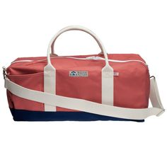 The Sconset Long Weekender Duffel consists of heavy-duty, Nantucket red 18 oz canvas, areinforced Navy canvas bottom and natural cotton handles. N...