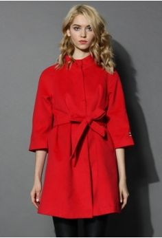 Little Red Mid-sleeve Wool-blend Belted Coat - Tops - Retro, Indie and Unique Fashion
