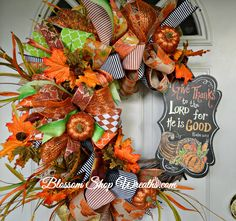 Thanksgiving Wreath, Grapevine Wreath, Thanksgiving Decor, Fall Wreath, Fall Decor, Autumn Wreath, Door Wreath, Door Decoration, Door Decor by BlossomShopWreaths on Etsy
