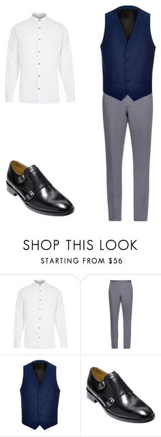 """Men's Blue Vest"" by rlbennett06 on Polyvore featuring River Island, Burberry, Cole Haan, mens, men, men's wear, mens wear, male, mens clothing and mens fashion"