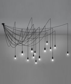 Bare Wire Multi-Flex Spider Chandelier with 14 Dimmable LED Lamps
