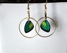 Handcrafted Butterfly Wing earrings, 14k gold hoop earrings, jewelry, Dangle earrings, Green and Yellow earrings by dougwalpusartstudio. Explore more products on http://dougwalpusartstudio.etsy.com