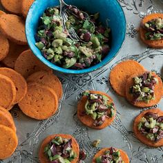 Tomato-Thyme Shortbreads with Olive Gremolata Recipe - Melia Marden | Food & Wine #thanksgiving