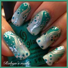 Instagram media by robyns_nails - Gradient with China Glaze Turned Up Turquoise, Essie Turquoise and Caicos, and China Glaze White on White stamped with Essie No Place Like Chrome using XL plate N from Bunny Nails. Added Sparitual Off the Grid using dotting tool.
