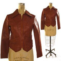 70s Leather Motorcycle Jacket / Brown Wilson's by SpunkVintage, $48.00