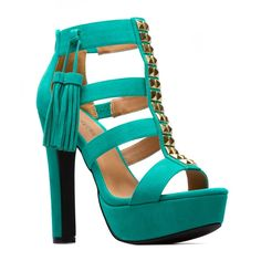 tassels and more! heels in turquoise