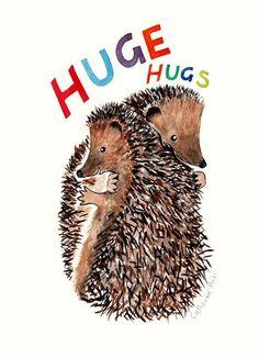 Huge Hugs Greeting Card Cute Hedgehog UK Made FSC Board Hedgehogs Friend Card