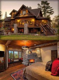 40 Log Cabins · Page 9 of 20 · Dream Home Design, My Dream Home, House Design, Patio Design, Log Cabin Homes, Log Cabins, Future House, My House, Backyard Patio
